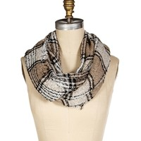 Sale-taupe Frayed Plaid Infinity Scarf