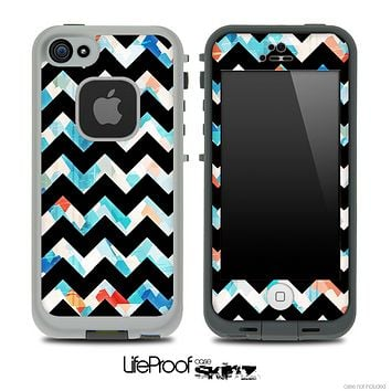 Abstract Turquoise and Black V6 Chevron Pattern Skin for the iPhone 5 or 4/4s LifeProof Case