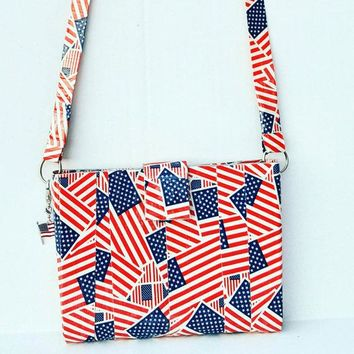 Crossbody Bag For Women, American Flag USA Red White and Blue Purse