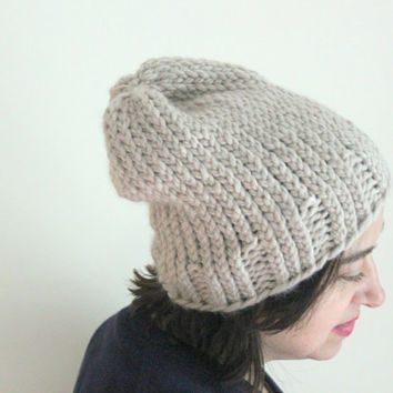 Chunky Knit Beanie, Taupe Beanie, Slouchy Beanie, Neutral Color Chunky Winter Hat, Chunky Knits, Fall Beanie, Women's Accessories