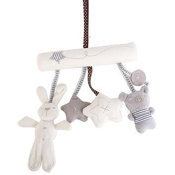 Cute Music Plush Activity Crib Stroller Baby Soft Toys Hanging Rabbit Star Shape Toy For Kids