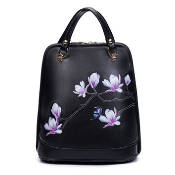 2016 New National Floral Women Backpack Black PU Leather Printing Backpack Women Backpacks For Teenage Girl School Shoulder Bags