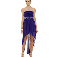 B. Darlin Strapless Beaded Hi-Low Dress - True Purple