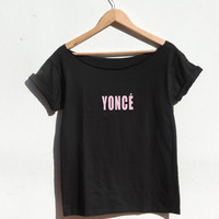YONCE Beyonce Shirt Off shoulder Top Album Drunk In Love Flawless bow down Surfboard beyonce t shirt Tumblr Fashion from CelebriTee