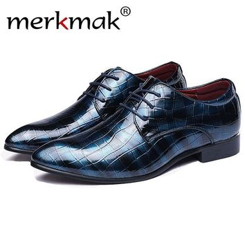 Merkmak Men Shoes Leather 2017 Spring Summer Casual Dress Business Shoes Oxfords Outdo
