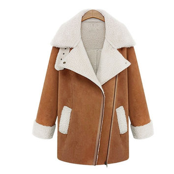 Fashion Women Warm Suede Jacket Fleece Buckle Turn-down Collar Pocket Zip Front Long Sleeve Coat = 1956707204