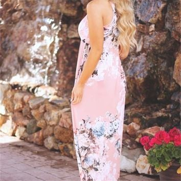 Pink Floral Print Draped High Waisted Round Neck Oversize Bohemian Maxi Dress
