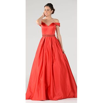 Red Off The Shoulder Rhinestones Pleated Waist A-Line Satin Ball Gown