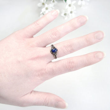 Sterling Lapis Ring: Sterling Silver and Lapis Lazuli - victorian, antique, vintage, butterfly, size 7, Katherine's Ring, Vampire Diaries