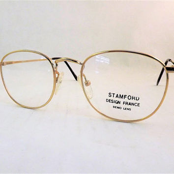 Round Glasses, Gold Eyeglasses, Womens Gold Eyeglasses, Round Gold Glasses, Vintage 1980s Gold Metal Frames