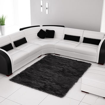 Free Shipping Classic Black and White Genuine Leather L Shaped Corner sofas for living room modern leather L9122-3