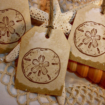 Sand Dollar Tags with Real Sand Accent Set of 6