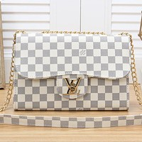 LV Louis Vuitton New fashion monogram tartan leather chain shoulder bag crossbody bag Coffee LV Print