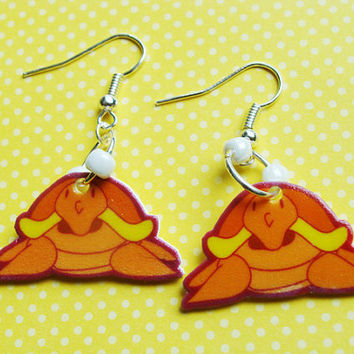 Orange Turtle Earrings