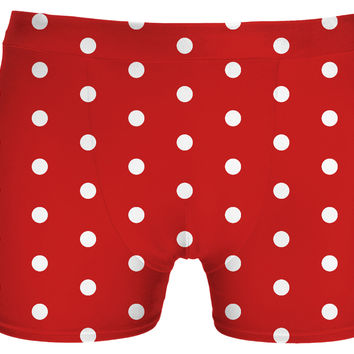 White polka dots on red, circles, points themed vintage pattern underwear