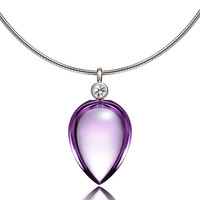 Amethyst and diamond necklace made from white gold, briolette cut, unique, amethyst pendant, nickel free, purple necklace, custom, tear drop