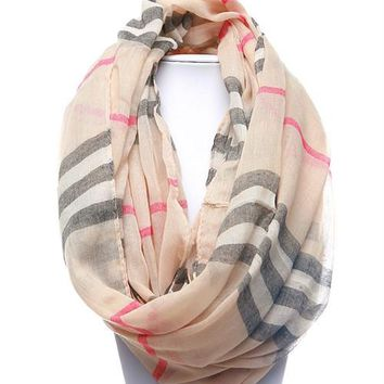 Burberry Inspired Striped Infinity Scarf