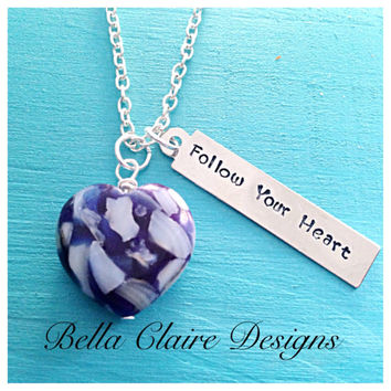 Follow your heart glass bead necklace, glass heart necklace, glass heart necklace, hand stamped glass necklace, hand stamped heart necklace,
