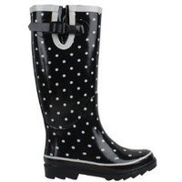 SunVille Women's Ditsy Dots Rubber Rainboot and GardenBoot, Black with Small White Dots, US Women's 11 B(M)