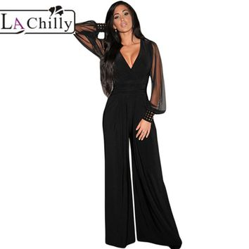 La Chilly 2018 womens rompers Elegant Autumn Party Black V-neck Embellished Cuffs Long Mesh Sleeves Loose Jumpsuits long LC6650