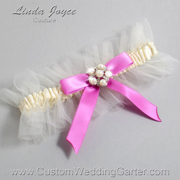"Ivory and Pink Tulle Wedding Garter Bridal Garter ""Natalie"" Silver 871 Ivory 182 Rose Bloom Prom Luxury Garter Plus Size & Queen Size"