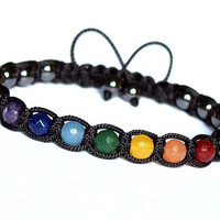 7 Chakras Yoga Unisex Shamballa Bracelet, Multicolor Natural Stone Jade Hematite, Rainbow Black Adjustable Mens Womens Bracelet