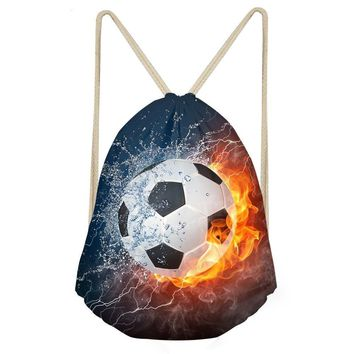 Soccer Ball Football On Fire Drawstring Bags Cinch String Backpack Funny Funky Cute Novelty