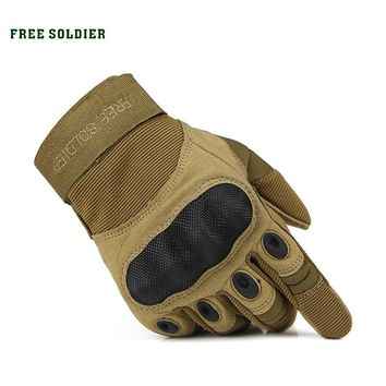 FREE SOLDIER outdoor sport tactical military men gloves armor protection full finger gloves for riding hiking climbing training