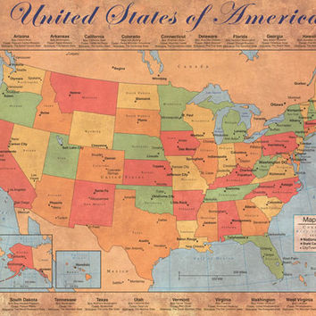 Map of the United States of America Poster 24x36