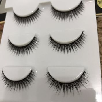3 pairs /set 3D Cross Thick False Eye Lashes Extension Makeup Super Natural Bare makeup short paragraph Fake Eyelashes 3d-66