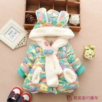 new girls Winter coat jacket baby clothing children's camouflage coat with scarves plus thick velvet padded jacket