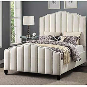 Pulaski D185-BR-K2 Glam Channeled Upholstered King Headboard in Cream Bed