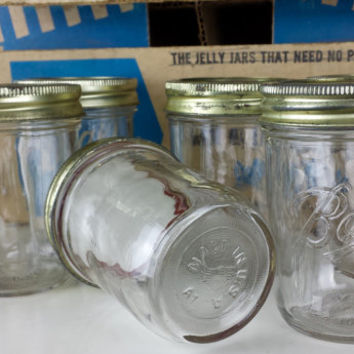 Vintage Set of 9 Ball Glass Can or Freeze Jars, Half Pint Ball Glass Jelly Jar, Glass Kitchen Storage, Farmhouse Kitchen Decor, Shabby Chic
