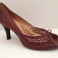 Sofft Shoes Womens Size 8.5 M Heels Brown Weave 8 1/2 Pumps Open Toe Leather