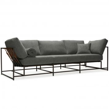 CITY GYM SOFA - GREY WOOL & BLACKENED STEEL