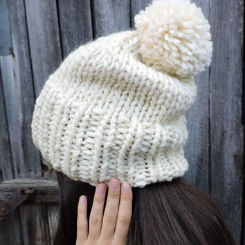 FREE SHIPPING Ivory knit hat Slouchy hat Beanie with pom pom Light oatmeal Hand knit hat Women's men's winter hat Ski hat Unisex bobble hat
