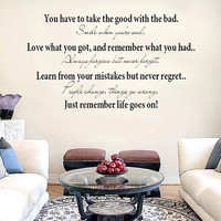 You have to take the good with the bad.. Vinyl Wall Decal Sticker Art