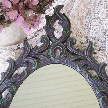 Vintage Wall Mirror Hand Painted Oval Dusty Purple and Green Hollywood Regency