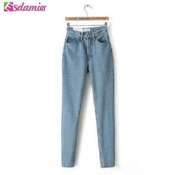 Hot Sell Womens Jeans Boyfriend Vintage High Waist Jeans Woman Light Washed Denim Jeans Femme Loose Boyfriend Jeans For Women