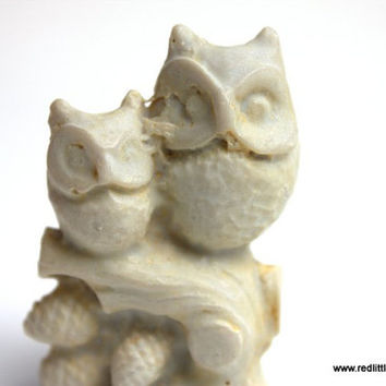 Beige Small Vintage Two Owls Sitting on a Branch- Mother and Child, home decor, feng shui, desk accessories, collectors
