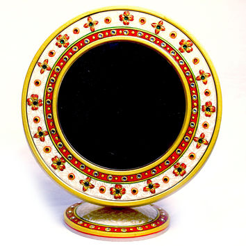 Aakashi Red White Round Mirror with Stand