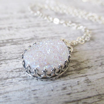 White Crystal Druzy Stone Necklace, Oval Druzy Necklace, Druzy Necklace, White Crystal Necklace, Druzy Jewelry