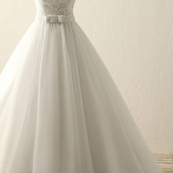 A Line tulle waist with sweetheart beaded bodice bridal gowns simple wedding dress