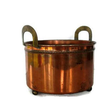 Vintage Copper Planter Brass Ball Feet and Handles 1930s Repousse Metal Work, Craftsman Decor