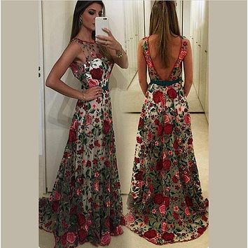 Embroidery Flowers Backless Pleated Long Prom Party Dress
