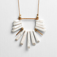 White Howlite Fan Cord Necklace with Brass Accents