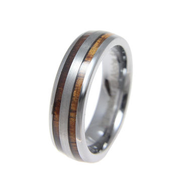 Tungsten 6mm Wedding Band Ring Hawaiian Koa Wood Inlay Comfort Fit Size 6-13