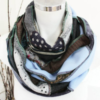 Oversize Men Scarf, Blue black gray scarf, Handmade scarf, men Christmas gifts, Unique scarf, Winter scarf Unisex, Patchwork Men's Scarf