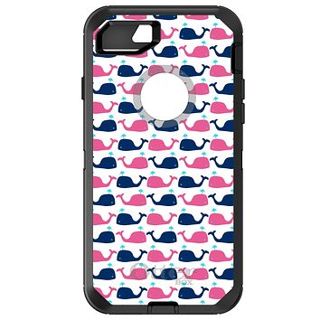DistinctInk™ OtterBox Defender Series Case for Apple iPhone / Samsung Galaxy / Google Pixel - Pink Navy Cartoon Whales