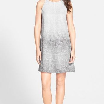 Women's Eileen Fisher Print Round Neck Silk A-Line Dress ,